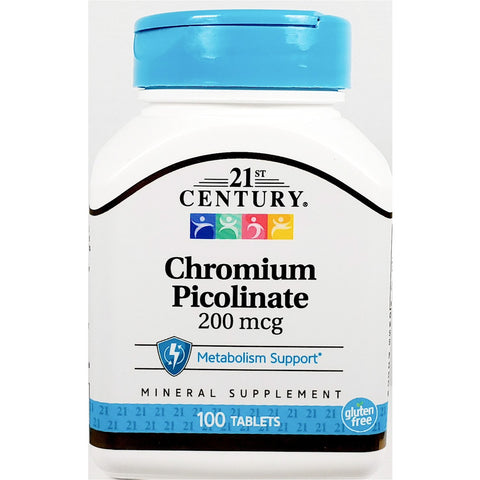 21st Century Chromium Picolinate, 200 mcg 100 Tablets