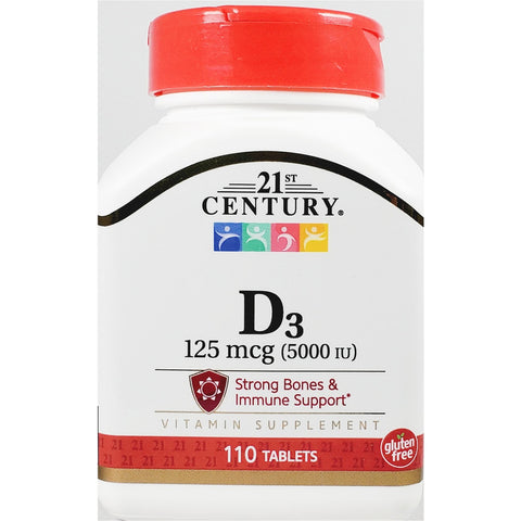 21st Century D3, 125 mcg (5000 IU) 110 Tablets (Immune Support)