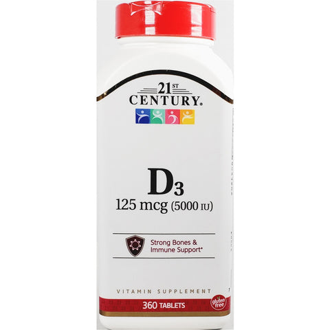 21st Century D3, 125 mcg (5000 IU) 360 Tablets (Immune Support)