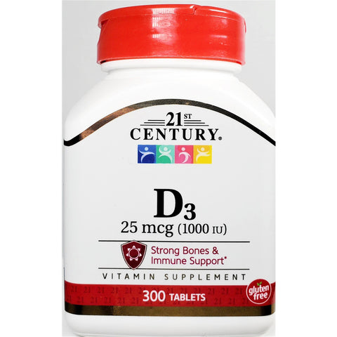 21st Century D3, 25 mcg (1000 IU) 300 Tablets (Immune Support)
