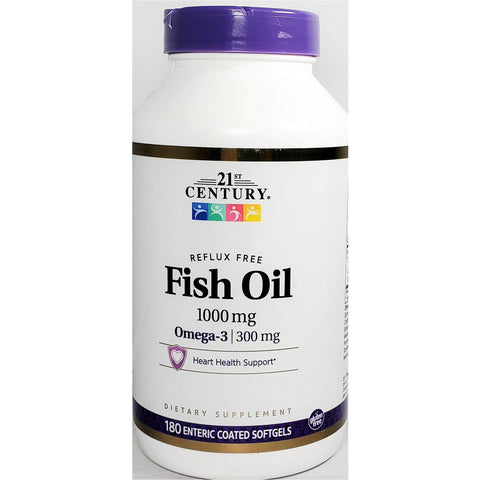21st Century Fish Oil w/ Omega 3 (Reflux Free), 1000 mg 180 EC Softgels