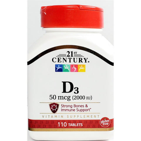 21st Century D3, 50 mcg (2000 IU) 110 Tablets (Immune Support)