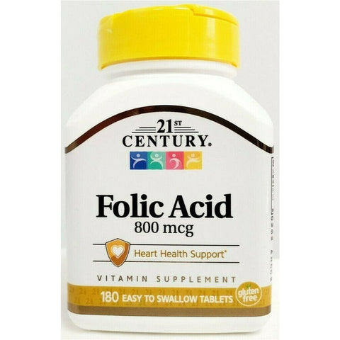 21st Century Folic Acid, 800 mcg 180 Tablets