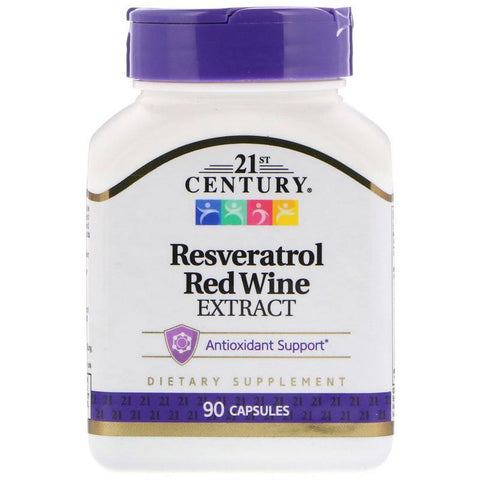 21st Century Resveratrol Red Wine Extract 90 Capsules (1 Pack) Supplement