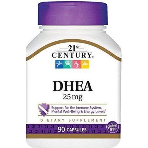 21st Century DHEA Supplement, 25 mg 90 Capsules (1 Pack)