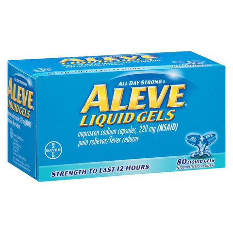 Aleve Liquid Gels (Naproxen Sodium), 220 mg 80 Capsules (1 Pack)