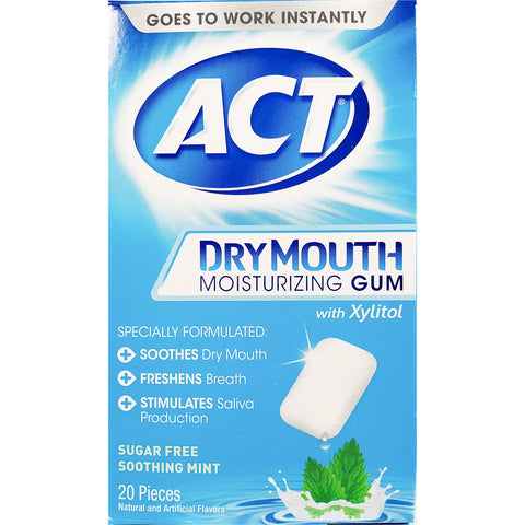 ACT Dry Mouth Moisturizing Gum (Sugar Free), 20 Pieces