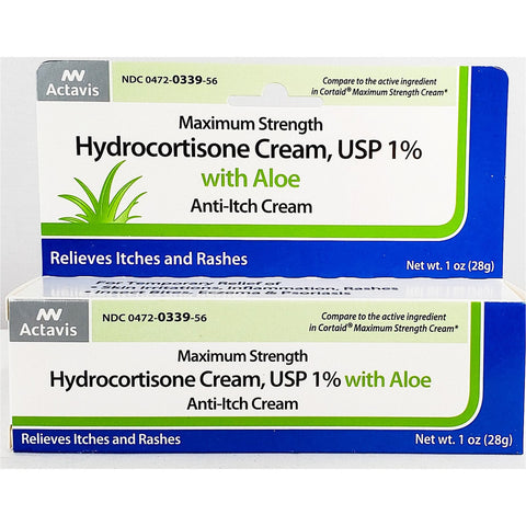 Hydrocortisone Cream, USP 1% with Aloe, 1 oz by Actavis