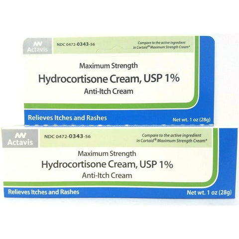 Actavis Maximum Strength Hydrocortisone Cream, USP 1% (Compare to Cortaid) 1 oz (1 Pack)