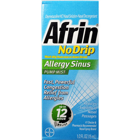 Afrin No Drip Allergy Sinus, Nasal Mist 1/2 fl oz (15 mL)