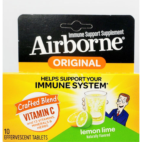 Airborne Original (Immune Support) 10 Effervescent Tablets, Lemon Lime Flavor