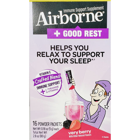 Airborne plus Good Rest, (Immune Support) 16 Powder Packets (Very Berry Flavor)
