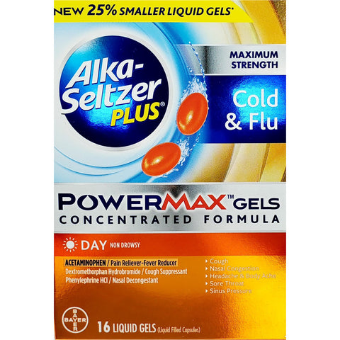Alka-Seltzer Plus Cold & Flu, 16 PowerMax Liquid Gels