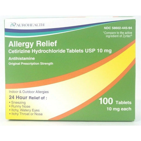 Aurohealth Allergy Relief (Compare To Zyrtec) 10 Mg Each 100 Tablets (1 Pack) Asthma & Sinus
