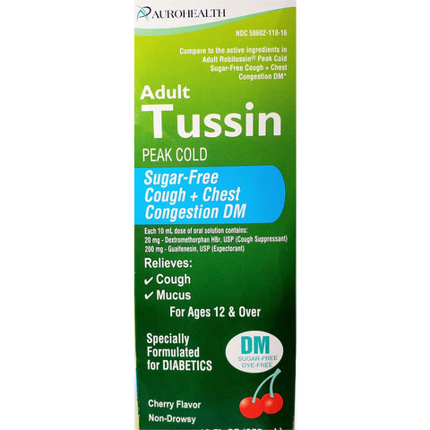 Aurohealth Adult Tussin Peak Cold DM (Compare to Adult Robitussin), Sugar Free 12 fl oz