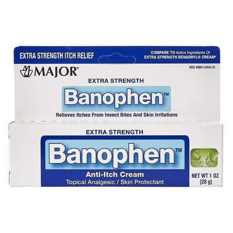 Major Extra Strength Banophen Anti-Itch Cream, 1 oz (1 or 3 Pack)
