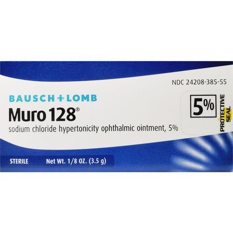 Bausch & Lomb Muro 128, Sodium Chloride Ophthalmic Ointment 5%, 1/8 oz (3.5 g)