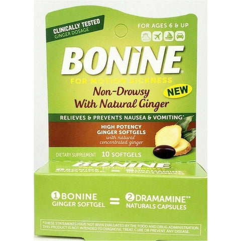 Bonine Ginger Softgels 10 Each (1 Or 3 Pack) 1 Pack Digestive Health