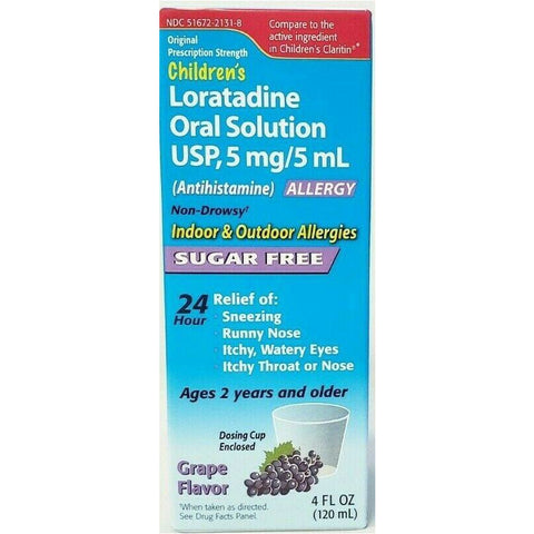 Children's Loratadine (Sugar Free) Oral Solution, 5 mg (Compare to Children's Claritin) 4 fl oz