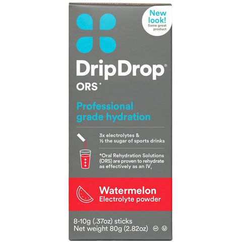 Drip Drop Oral Electrolyte Rehydration Solution Watermelon flavor, 8-0.37 oz sticks (1 Pack)
