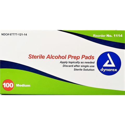 Dynarex Alcohol Prep Pads (Single Use), 100 Count