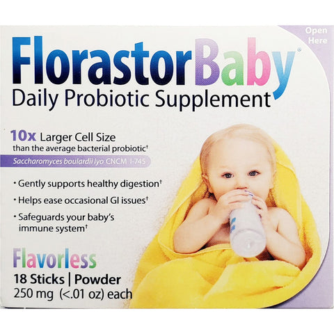 Florastor Baby Daily Probiotic Supplement, 250 mg (Immune Support) 18 Powder Sticks