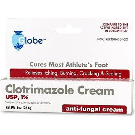 Globe Clotrimazole Cream Usp 1% (Compare To Lotrimin-Af) 1 Oz Each (1 3 Or 6 Pack) Pack Foot Care