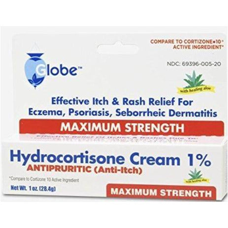 Globe Hydrocortisone Ointment 1% (Compare to Cortizone 10) for temporary relief of itching associated with rashes, eczema, insect bites, psoriasis, detergents, anal itching