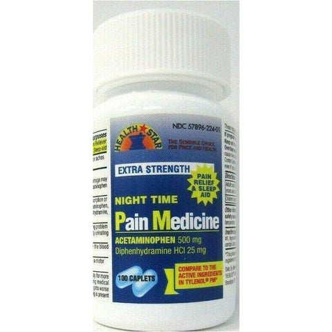Health Star Extra Strength Night Time Pain Medicine (Compare to Tylenol PM) 100 Caplets (1 or 3 Pack)