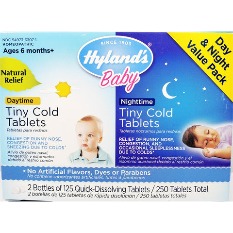 Hyland's Baby Day & Night Cold Relief Value Pack, 250 Tablets Total