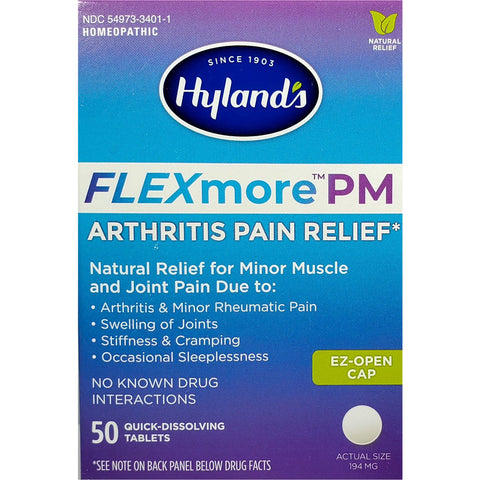 Hyland's FLEXmore PM (Arthritis Pain Relief), 50 Quick Dissolving Tablets