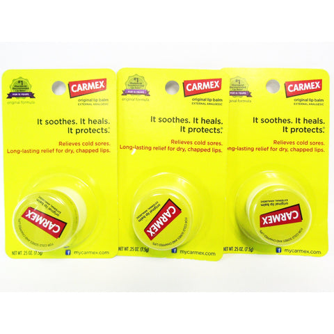Carmex Original Lip Balm Jar 0.25 Oz Each (3 - 1 Packs) Care & Oral Hygiene