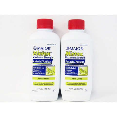 Major Mintox Maximum Strength Antacid/antigas Lemon Creme (Compare To Maalox) 12 Oz Each (2 Or 4