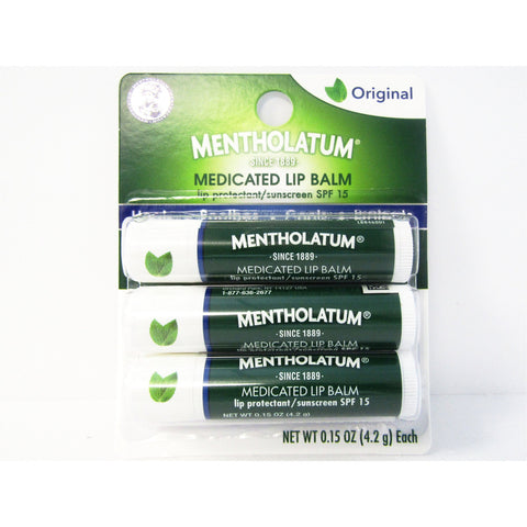 Mentholatum Medicated Lip Balm (Original) 3 - 0.15 Oz (1 Pack) Lip Care & Oral Hygiene