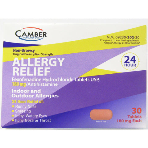 Camber Allergy Relief (Compare To Allegra 24 Hour) 30 Tablets