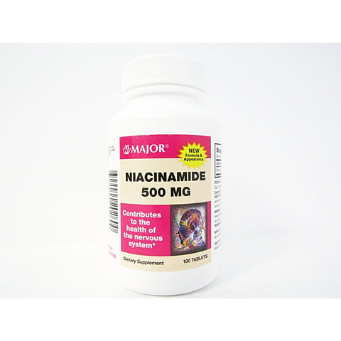 Major Niacinamide 500 Mg 100 Tablets (1 Pack) Supplement