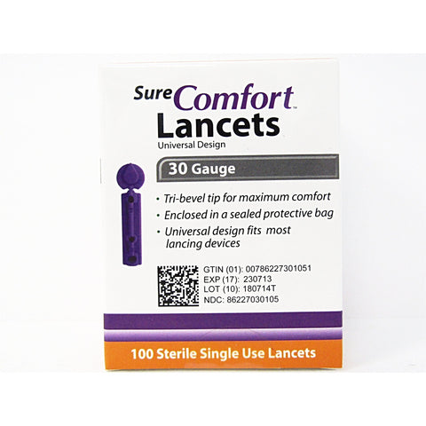 Sure Comfort Sterile Lancets 30 Gauge 100 Count (1 2 Or 4 Pack) 1 Pack Diabetic Needs