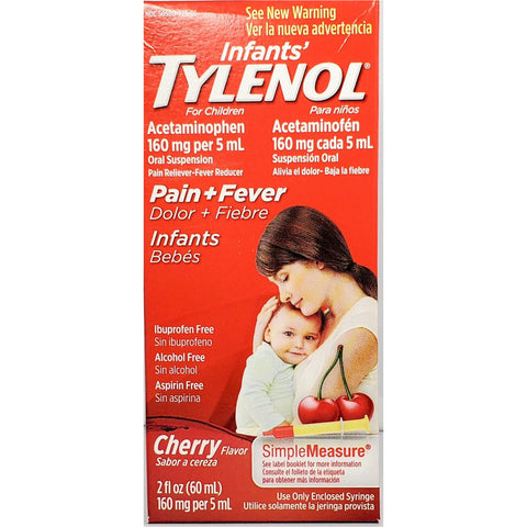 Infants Tylenol Acetaminophen Pain & Fever (Cherry Flavor) 160 mg, 2 fl oz