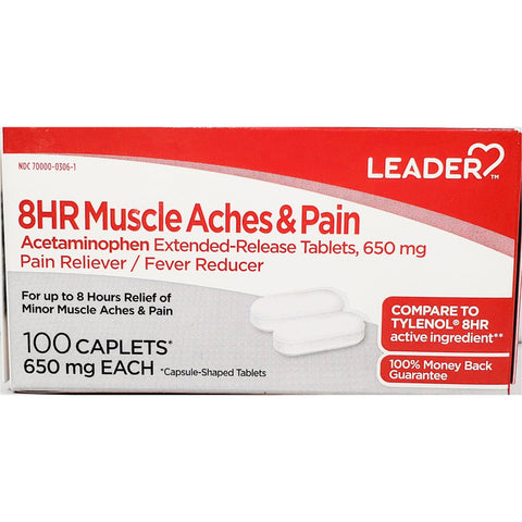Leader Acetaminophen 8 HR Muscle Aches & Pains, 650 mg