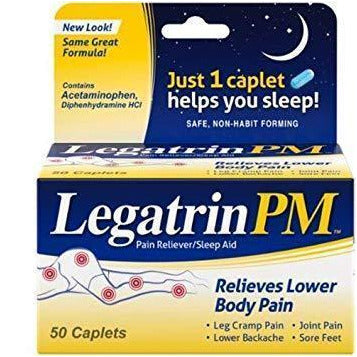 Legatrin PM Lower Body Pain Reliever/Nighttime Sleep Aid for minor aches and pains, such as leg cramping, joint pain, lower back pain, sore feet with sleeplessness