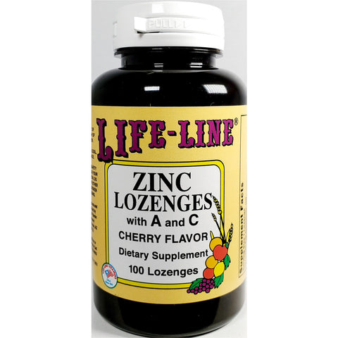 Life-Line Zinc Lozenges with Vitamins A & C, Cherry Flavor 100 Count