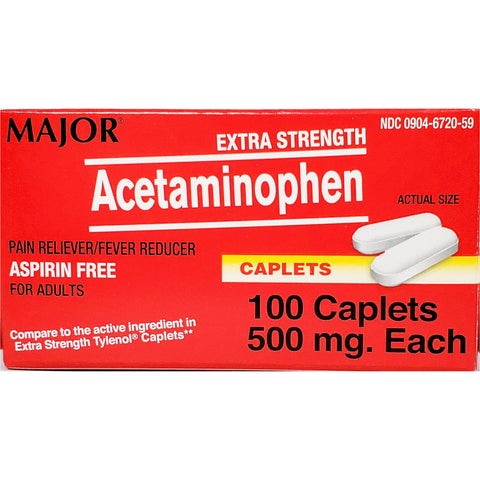 Major Acetaminophen (Compare to Extra Strength Tylenol) 500 mg, 100 Caplets