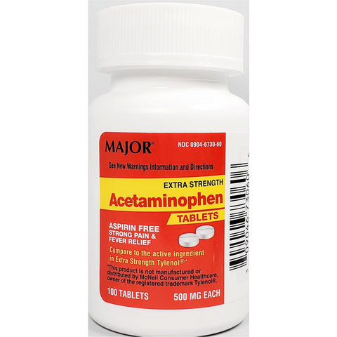 Major Acetaminophen (Compare to Extra Strength Tylenol), 500 mg