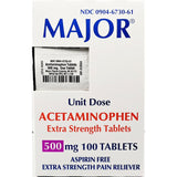 Major Acetaminophen 500 mg (Extra Strength) Unit Dose, 100 Tablets