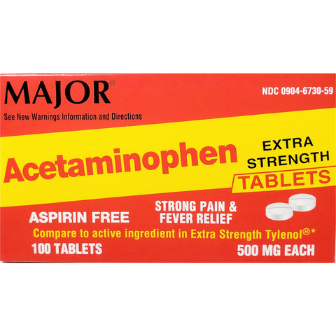 Major Acetaminophen, 500 mg  100 Tablets