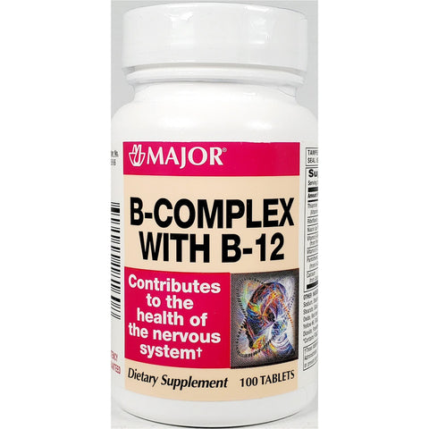Major B-Complex with B12, 100 Tablets