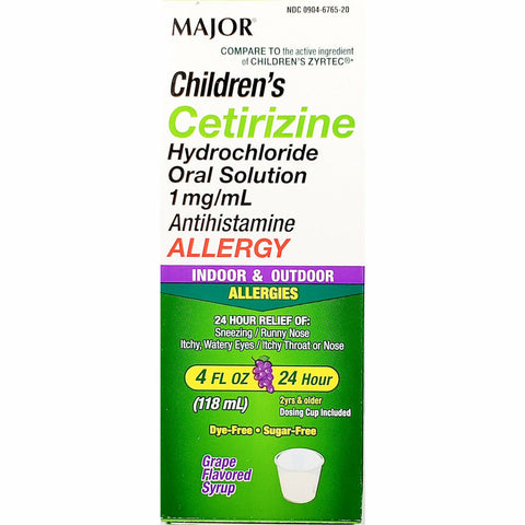 Major Children's Cetirizine, 5 mg per 5 mL (Compare to Children's Zyrtec) 4 fl oz (Sugar Free, Grape Flavor)