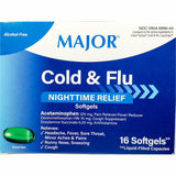 Major Cold & Flu Nighttime Relief (Compare to Vicks NyQuil), 16 Softgels
