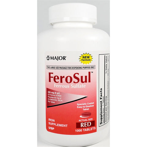 Major FeroSul (Ferrous Sulfate) 65 mg, 1000 Tablets
