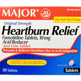 Major Heartburn Relief, Famotidine, 10 mg (Compare to Pepcid AC) 30 Tablets